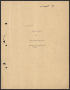 Sacco-Vanzetti Case Records, 1920-1928. Commonwealth v. Vanzetti (Bridgewater Trial). Defendant's Bill of Exceptions, 1920. Box 2, Folder 18, Harvard Law School Library, Historical & Special Collections