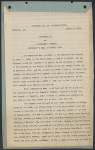 Sacco-Vanzetti Case Records, 1920-1928. Commonwealth v. Vanzetti (Bridgewater Trial). Defendant's Bill of Exceptions, 1920. Box 2, Folder 19, Harvard Law School Library, Historical & Special Collections