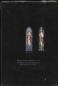 Design for window over the entrance in the new building of the Congregational Church, West Medford, Massachusetts