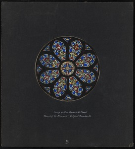 Design for rose window in the chancel, Church of the Atonement, Westfield, Massachusetts.