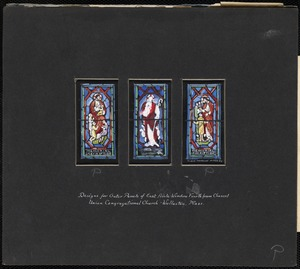 Designs for outer panels of east aisle window fourth from chancel, Union Congregational Church, Wollaston, Mass.