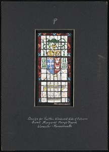 Design for narthex window at side of entrance, Saint Margaret Mary's Church, Worcester, Massachusetts