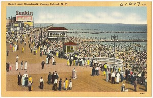 Beach and boardwalk, Coney Island, N. Y.