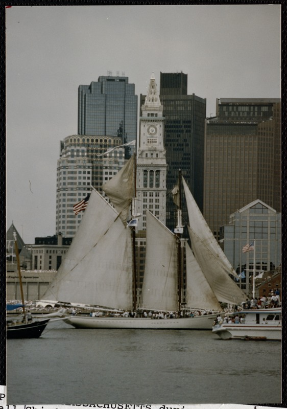 Spirit of Massachusetts during Op Sail '92 Tall Ship's parade