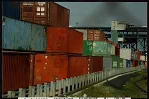 Containers awaiting transfer at Moran Terminal