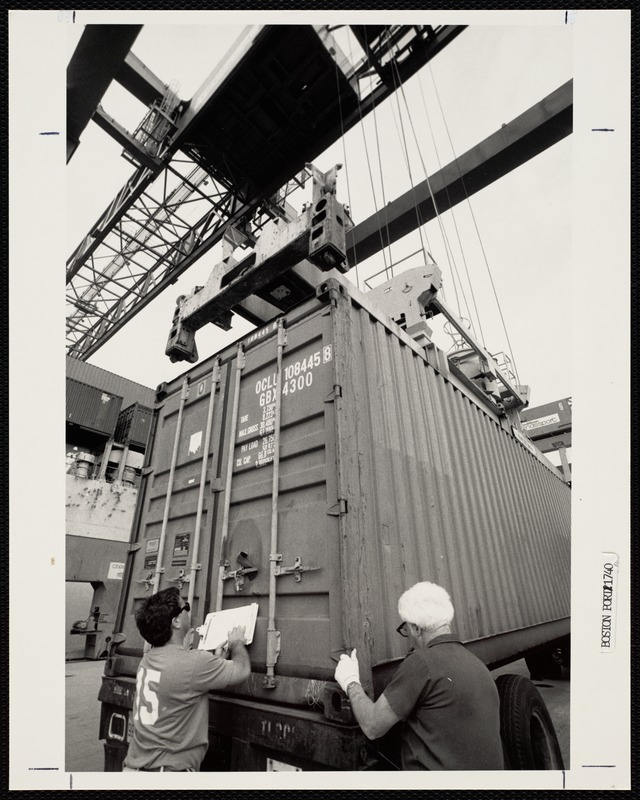 Safety check on containerload at the Port of Boston