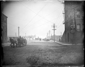 """Congress St., view east from corner of """"A"""" St. Bernstein Electric Co."""