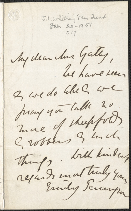 Emily Tennyson autograph letter signed to Mrs. Gatty, [Farringford, Isle of Wight], [December 1858?]