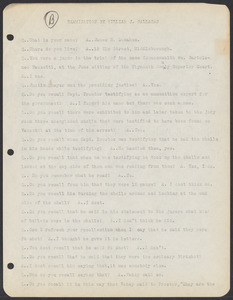 Sacco-Vanzetti Case Records, 1920-1928. Commonwealth v. Vanzetti (Bridgewater Trial). Examination of Jurors in regard to shells opened by Foreman Burgess in the Bridgewater Trial: James R. Donahue, 1920. Box 2, Folder 8, Harvard Law School Library, Historical & Special Collections