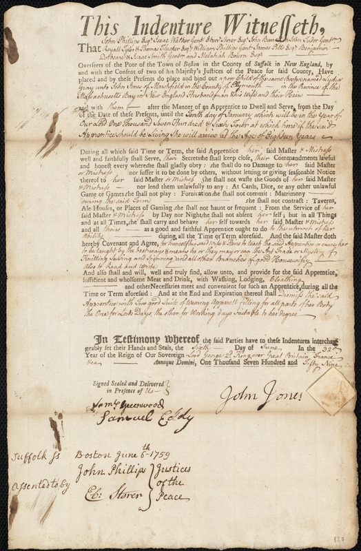 Document of indenture: Servant: Gray, Lydia. Master: Jones, John. Town of Master: Marshfield