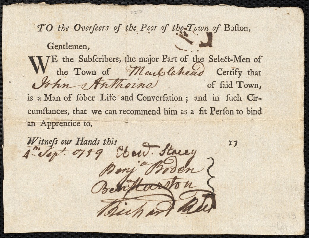 Document of indenture: Servant: Peak, Henry. Master: Anthoine, John. Town of Master: Marblehead. Selectmen of the town of Marblehead autograph document signed to the Overseers of the Poor of the town of Boston: Endorsement Certificate for John Anthoine.