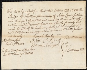 Document of indenture: Servant: Craigie, Mary. Master: Phelps, Nathaniel. Town of Master: Northampton. Selectmen of the town of Northampton autograph document signed to the Overseers of the Poor of the town of Boston: Endorsement Certificate for Nathaniel Phelps.