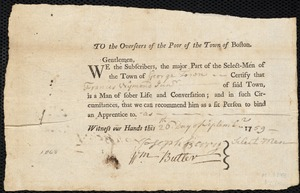 Document of indenture: Servant: Stokey, Robert. Master: Wyman, Francis Jr. Town of Master: Georgetown. Selectmen of the town of Georgetown autograph document signed to the Overseers of the Poor of the town of Boston: Endorsement Certificate for Francis Wyman.