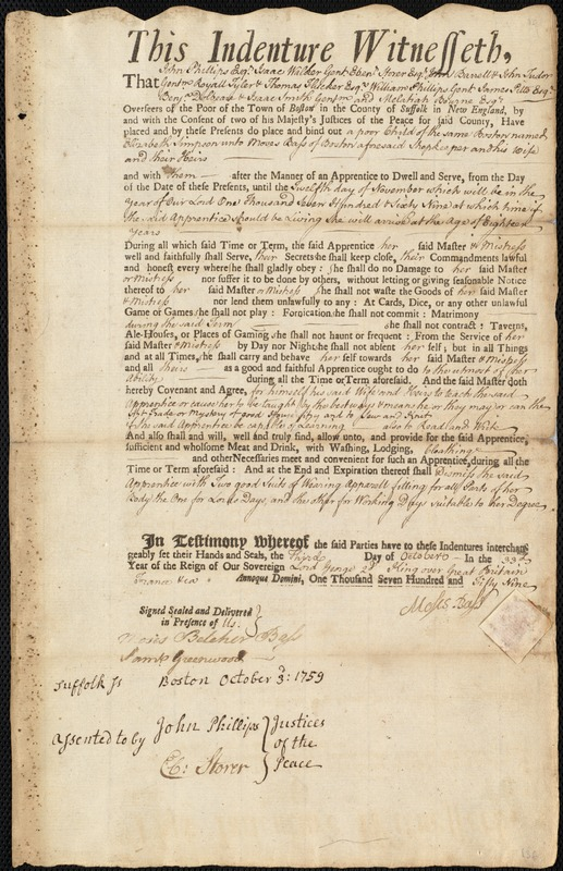 Document of indenture: Servant: Simpson, Elizabeth. Master: Bass, Moses. Town of Master: Boston
