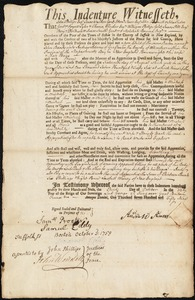 Document of indenture: Servant: Banks, John. Master: Adams, Andrew. Town of Master: Grafton