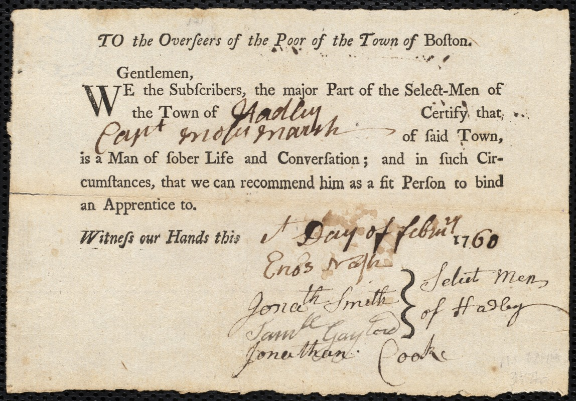 Document of indenture: Servant: Noble, Mark. Master: Marsh, Moses. Town of Master: Hadley. Selectmen of the town of Hadley autograph document signed to the Overseers of the Poor of the town of Boston: Endorsement Certificate for Moses Marsh.