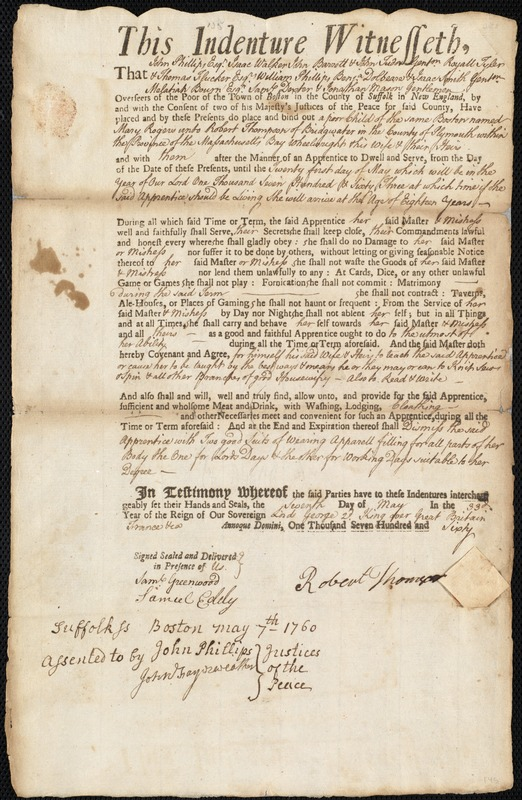 Document of indenture: Servant: Rogers, Mary. Master: Thompson, Robert. Town of Master: Bridgewater