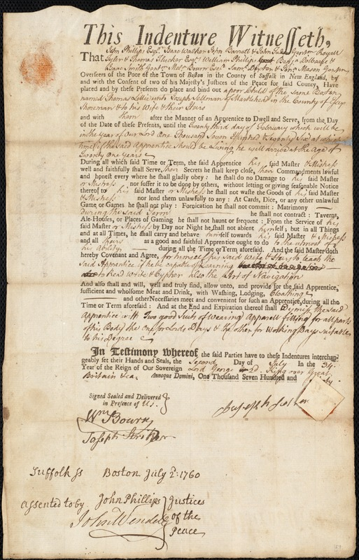 Document of indenture: Servant: Lillie, Thomas. Master: Sellman, Joseph. Town of Master: Marblehead. Selectmen of the town of Marblehead autograph document signed to the Overseers of the Poor of Boston: Endorsement Certificate for Joseph Sellman.
