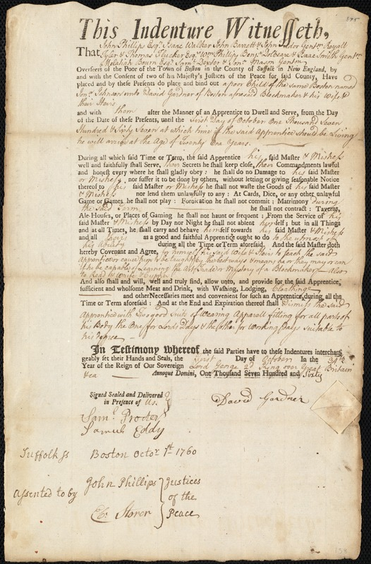 Document of indenture: Servant: Johnson, Jonathan. Master: Gardner, David. Town of Master: Boston