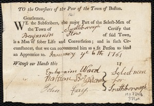Document of indenture: Servant: Caryl, Thomas. Master: Stow, Benjamin. Town of Master: Southborough. Endorsement certificate for Benjamin Stow.