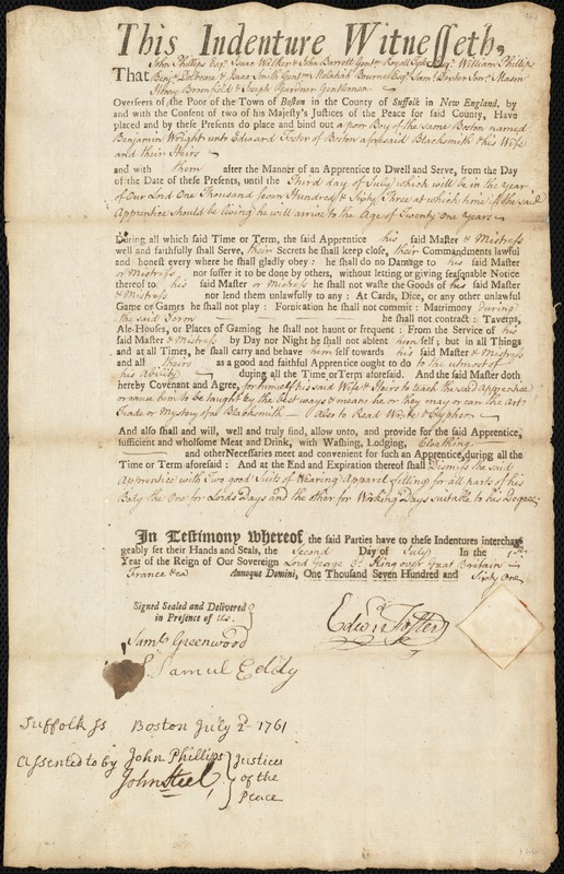 Document of indenture: Servant: Wright, Benjamin. Master: Foster, Edward. Town of Master: Boston