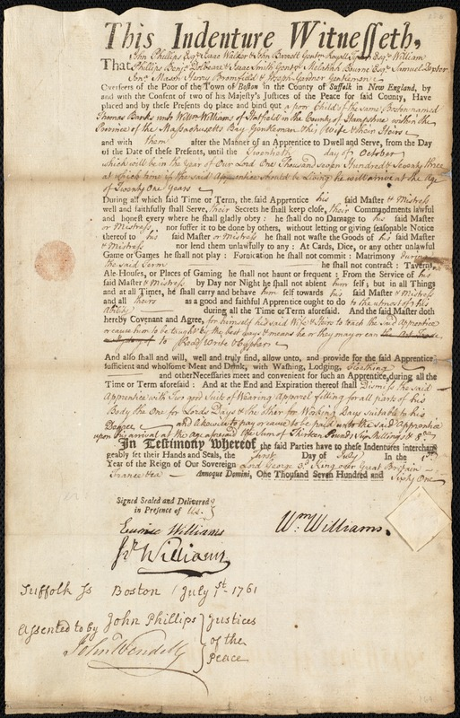 Document of indenture: Servant: Banks, Thomas. Master: Williams, William. Town of Master: Hatfield