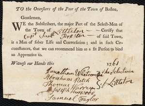 Document of indenture: Servant: Butler, Jane. Master: Preston, Samuel. Town of Master: Littleton. Selectmen of the town of Littleton autograph document signed to the Overseers of the Poor of the town of Boston: Endorsement Certificate for Samuel Preston.