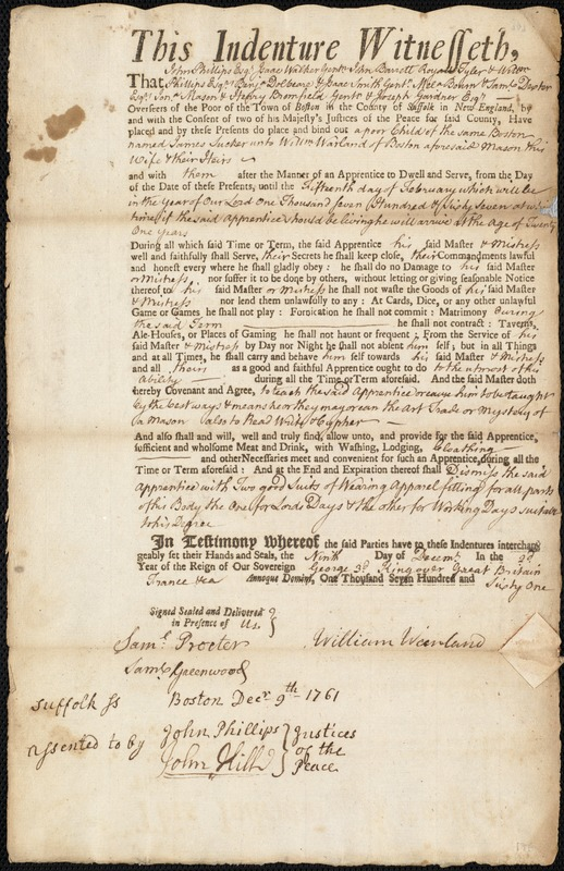 Document of indenture: Servant: Tucker, James. Master: Warland, William. Town of Master: Boston