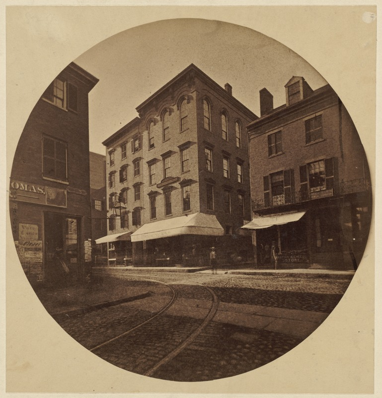 Corner Harrison Ave. and Essex St., 1860. Home of Wendell Phillips to right