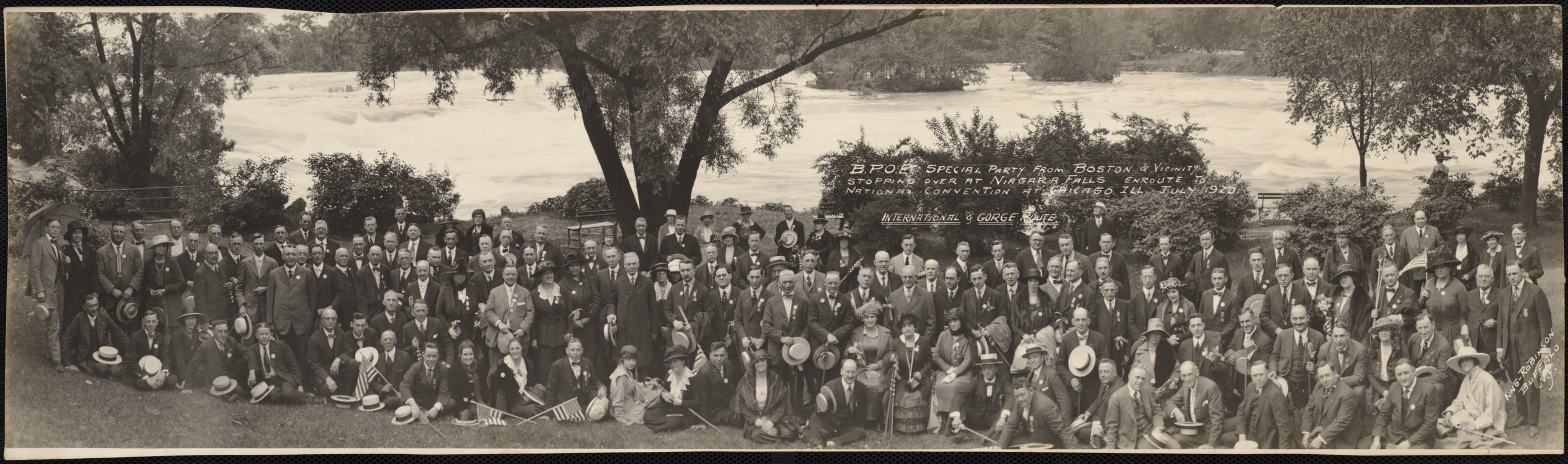 B. P. O. E. special party from Boston & vicinity, stopping over at Niagara Falls enroute [sic] to  National Convention at Chicago