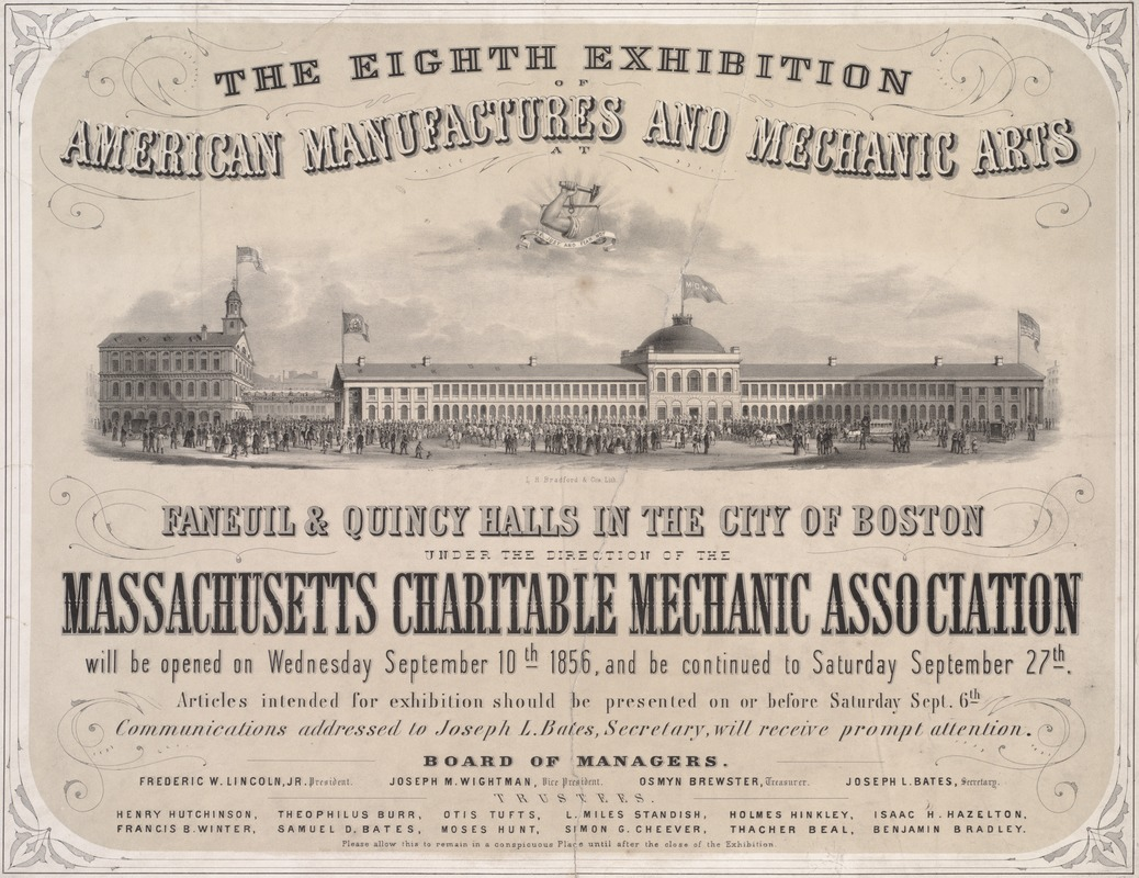 The eight exhibition of American manufacture and mechanic arts, Faneuil & Quincy Halls in the City of Boston, under the direction of the Massachusetts Charitable Mechanic Association