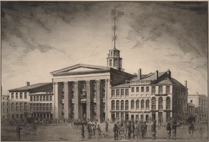 View of the Merchants Exchange, State Street and adjacent buildings, 1842