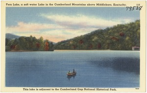 Fern Lake, a soft water lake in the Cumberland Mountains above Middleboro, Kentucky. This lake is adjacent to the Cumberland Gap National Historical Park.