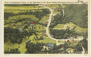 View of Gatlinburg, Tenn., at the entrance to the Great Smoky Mountains National Park