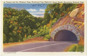 Tunnel and the Chimney Tops, Newfound Gap Highway, Great Mountains National Park