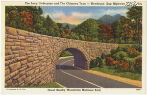 The loop underpass and the Chimney Tops -- Newfound Gap Highway, Great Smoky Mountains National Park