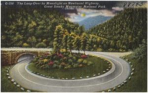 The loop-over by moonlight on Newfound Highway, Great Smoky Mountains National Park