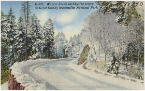 Winter scene on Skyline Drive in Great Smoky Mountains National Park.
