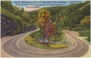 Horseshoe Bend on Newfound Gap Highway near Walker Camp. In the Great Smoky Mountains National Park.