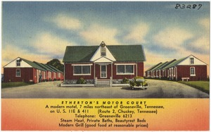 Etherton's Motor Court, a modern motel, 7 miles northeast of Greeneville, Tennessee