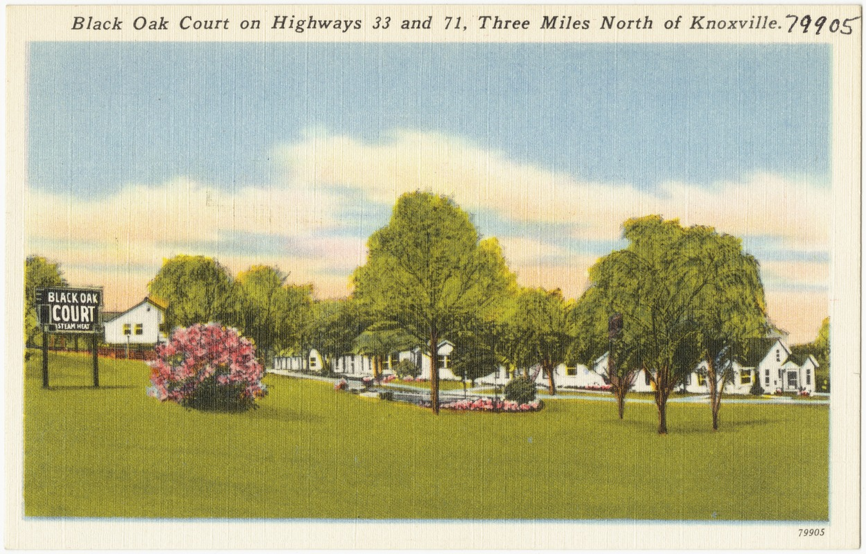 Black Oak Court on highways 33 and 71, three miles north of Knoxville.