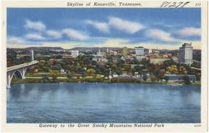 Skyline of Knoxville, Tennessee, gateway to the Great Smoky Mountains National Park