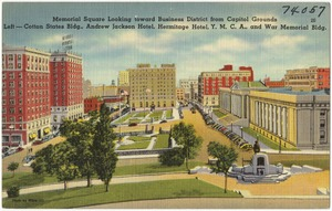 Memorial Square looking toward Business District from capitol grounds, left -- Cotton State Bldg., Andrew Jackson Hotel, Hermitage Hotel, Y. M. C. A., and War Memorial Bldg.