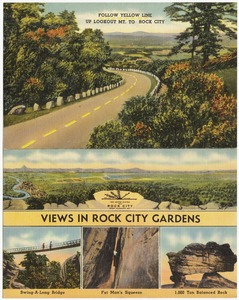 Follow yellow line up Lookout Mt. to Rock City, views in Rock City Gardens