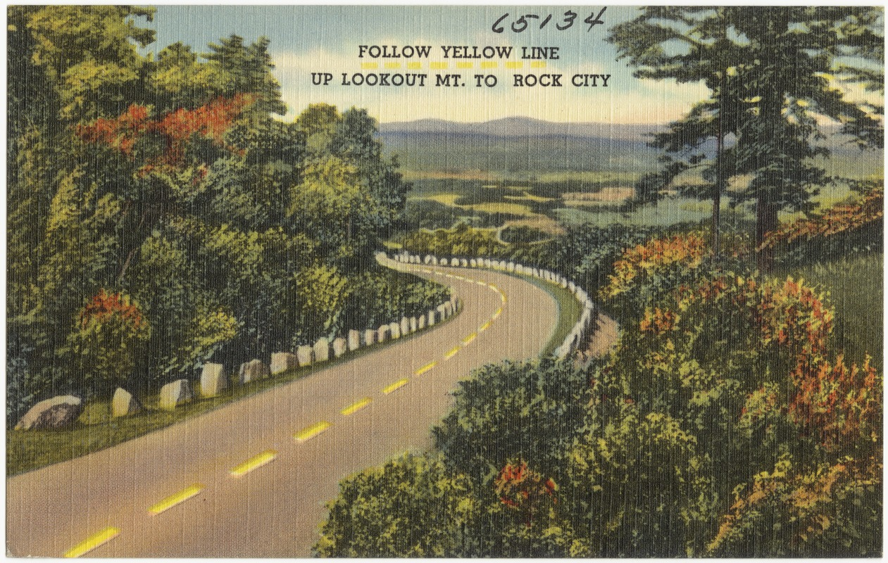 Follow yellow line up Lookout Mt. to Rock City
