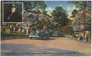 President Roosevelt and official party approaching Rock City Gardens, Lookout Mt.