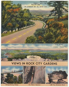 Yellow line up Lookout Mt. to Rock City. Views in Rock City Gardens