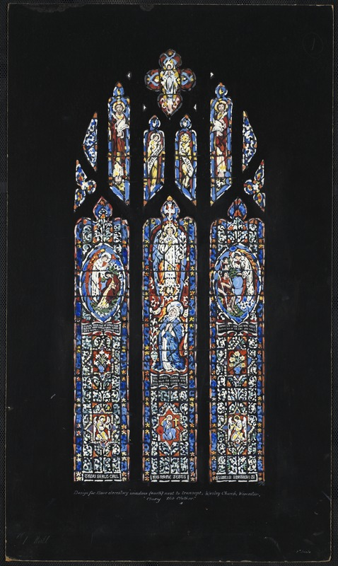 "#1 north. Design for nave clerestory window (north) next to transept, Wesley Church, Worcester. ""Mary the mother."""