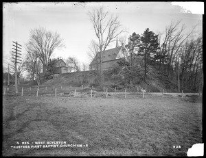 Wachusett Reservoir, Trustees of First Baptist Church, church, house, and horse-sheds, on south side of Holbrook Street, near East Main Street, from the south in field south of Central Massachusetts Railroad track, West Boylston, Mass., Dec. 15, 1896