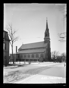 Wachusett Reservoir, Patrick T. O'Reilly, Catholic Church, on the south side of East Main Street near Holbrook Street, from the northeast in East Main Street, West Boylston, Mass., Dec. 17, 1896